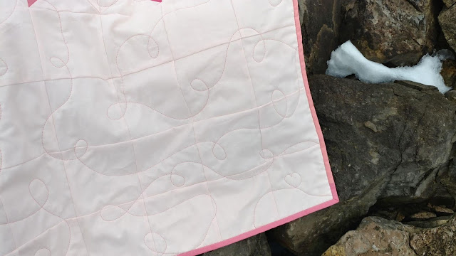Free-motion quilted hearts