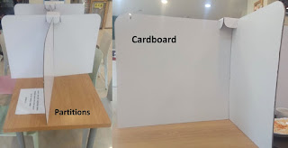 Partitions in food table to ensure social distancing at restaurants - Reopening restaurants - South Korea