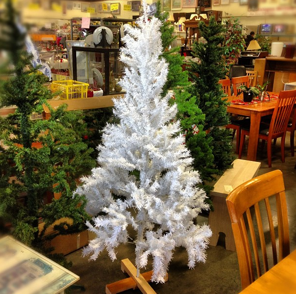 little white Christmas tree at the thrift store