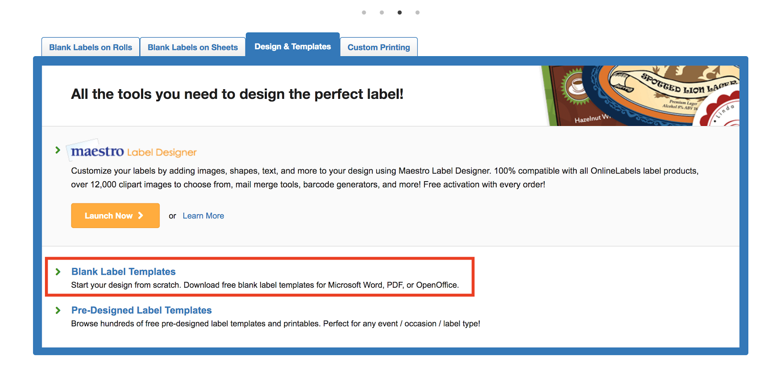 """On Online Label Sticker Paper), Click The Design & Template Tab Near  The Middle Of The Online Labels Main Website, Then Pick """"blank Label  Templates""""."""