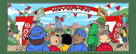 gambar ilustrasi tema hari ulang tahun republik indonesia ( HUT RI
