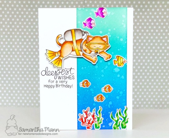 Scuba Diving Cat Card by Samantha Mann | Scuba Newton Stamp Set by Newton's Nook Designs #newtonsnook #handmade