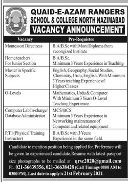 Ranjer Jobs 2021 - Ranger Jobs 2021 - Rangers Jobs Online Apply - Ranger Online Apply - Quaid-e-Azam Rangers School & College Jobs 2021 in Pakistan - Rangers Jobs 2021 Online Apply -  qrsc2020@gmail.com