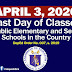 Last Day of Classes in All Public Schools SY 2019-2020