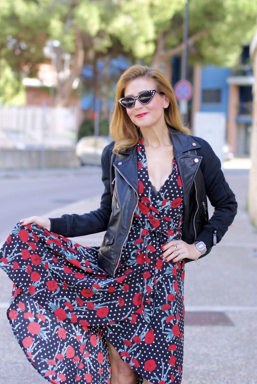 florals and polka dots on Fashion and Cookies fashion blog, fashion blogger style