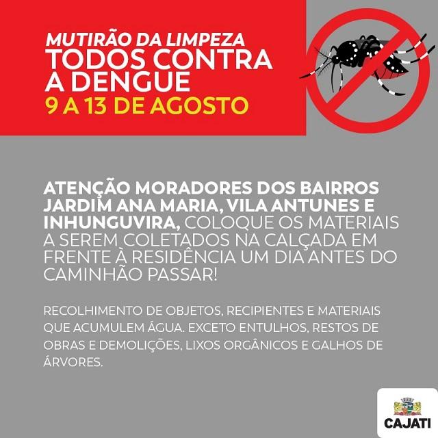 Mutirão da limpeza contra a Dengue acontece em Cajati