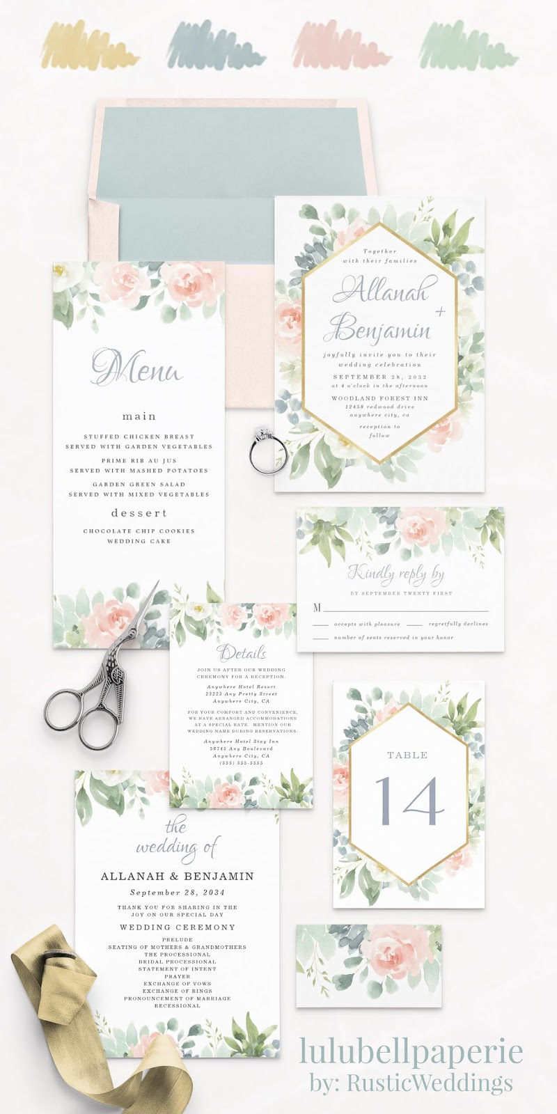 Dusty Blue Blush Pink and Green Succulent Floral Wedding Invitation Suite