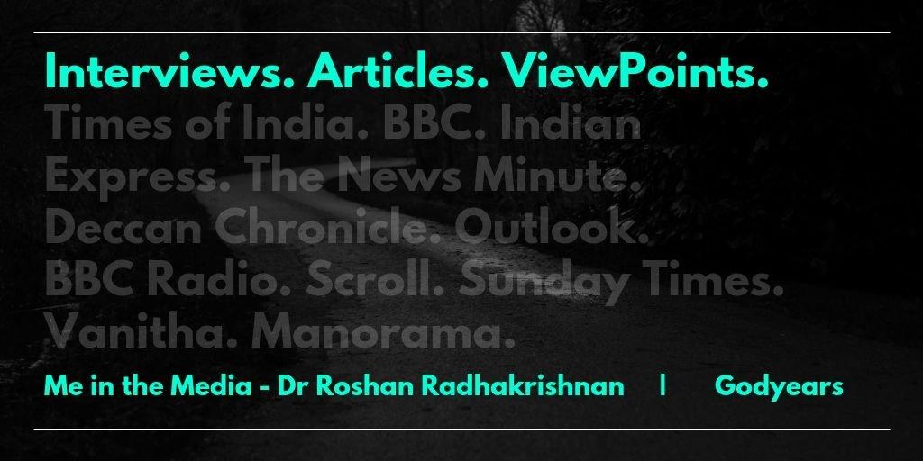dr roshan radhakrishnan interviews.
