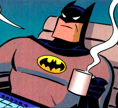 Even Batman enjoys coffee