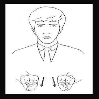 As duas mão em M, simulando o sinal de servo