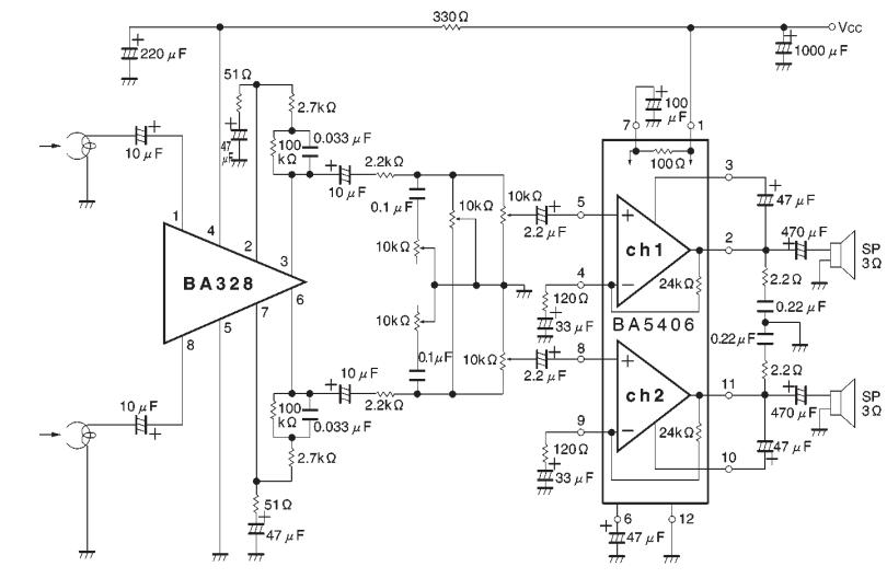 ba5406 stereo amplifier circuit