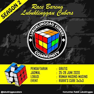 Race Rubik Online Season 2 yang diadakan oleh komunitas rubik di Kota Lubuklinggau