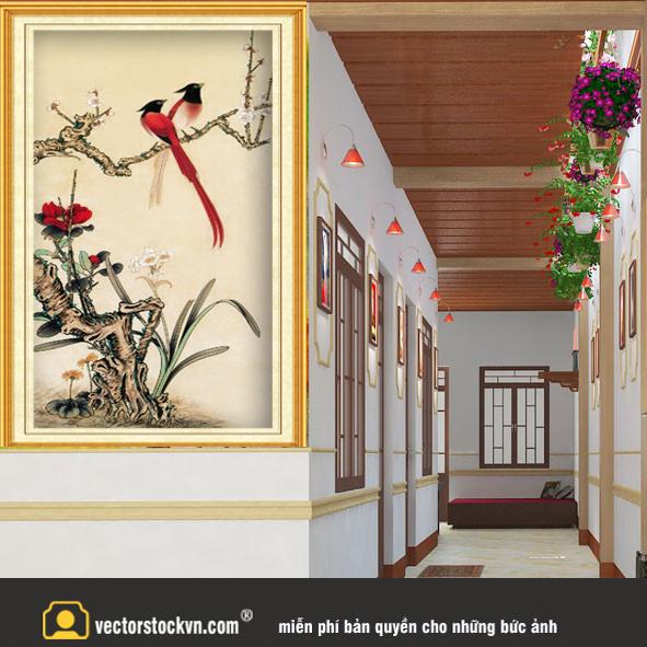 Tranh chim và hoa