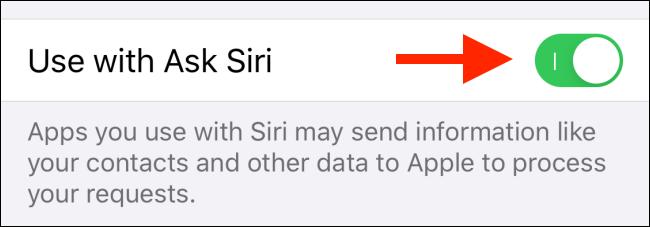 اضغط على التبديل بجوار الاستخدام مع Siri