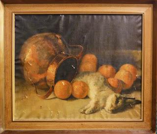 Naturaleza muerta con cántaro de cobre, naranjas y conejo. Oleo sobre lienzo