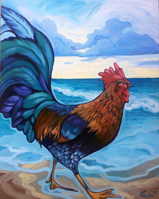 rooster painting, kauai rooster, hawaii painting, kauai rooster painting, hawaii rooster painting