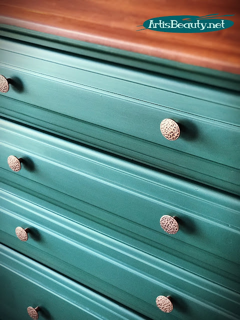 westminster green dresser makeover using milk paint and copper hardware