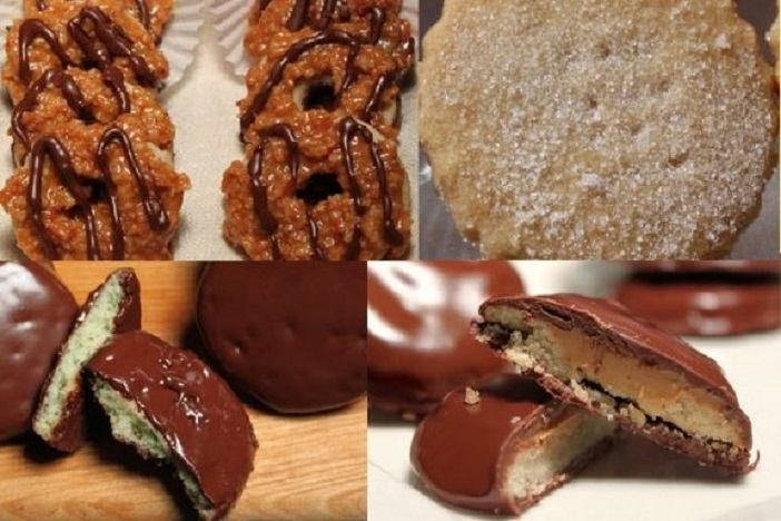 This is a collage of Girl Scout homemade cookies recipes, in this photo are knockoff samoas, shortbread trefoils, thin mints and peanut butter tagalongs
