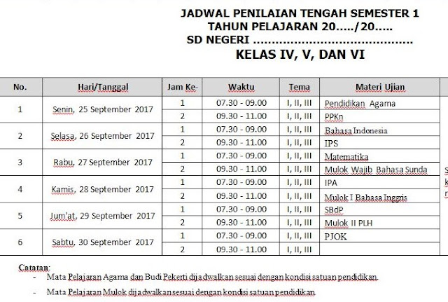 Contoh Jadwal Penilaian Tengah Semester Kurikulum 2013 Revisi