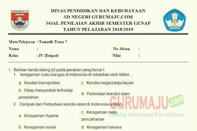 Soal PAT / UKK Kelas 4 Tema 7 Kurikulum 2013 Semester 2