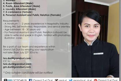 Lowongan GRAND ZURI HOTELS DURI Juli 2016