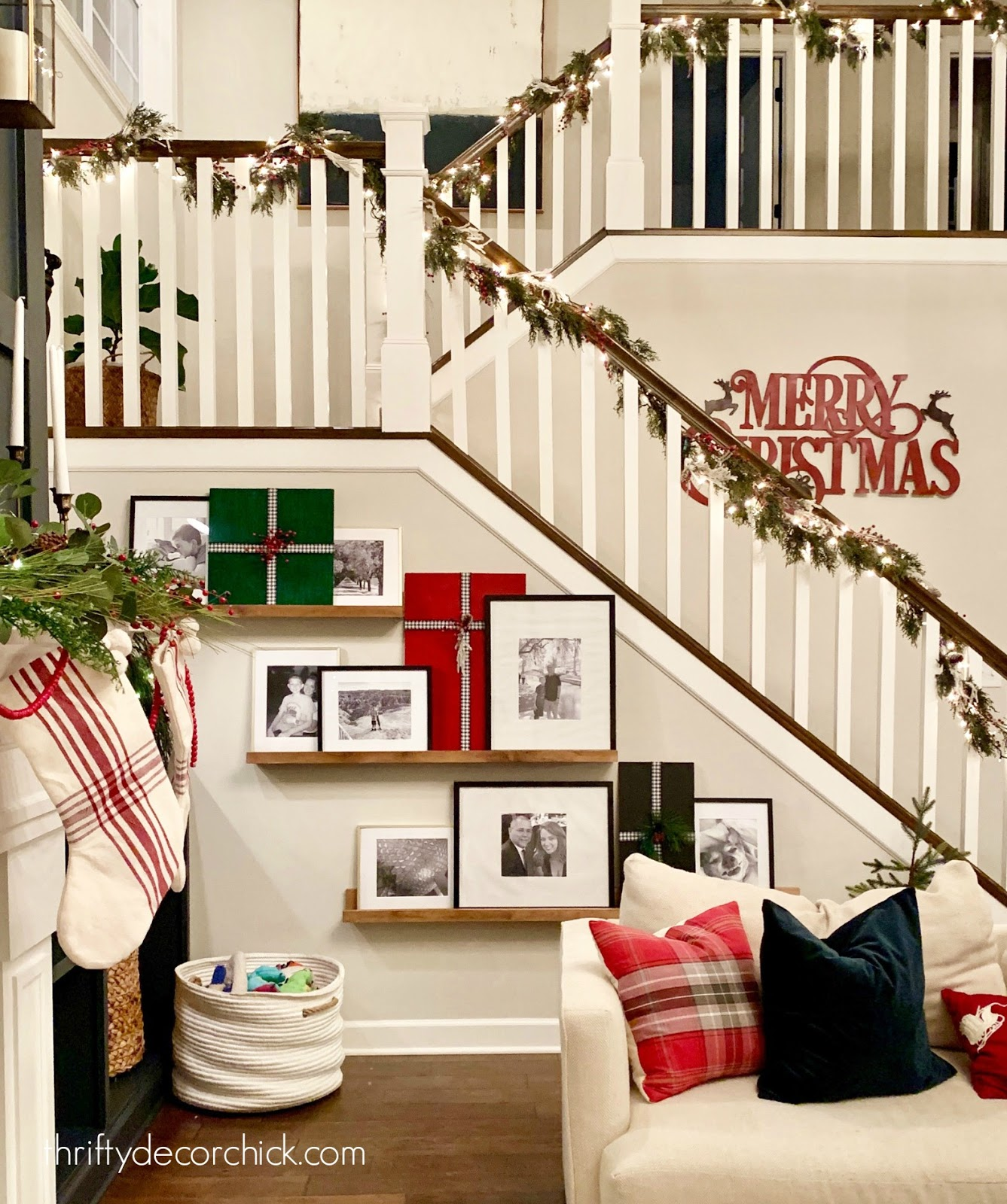 open stairs and railings with Christmas garland