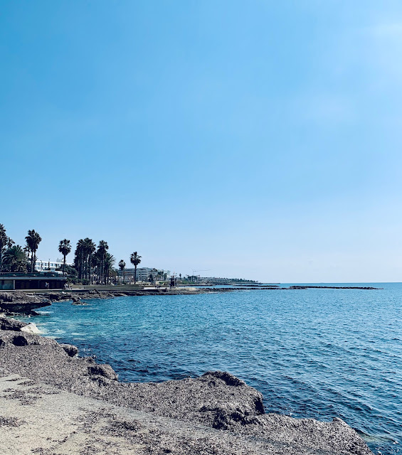 View from promenade,  The Baths, Paphos seafront.Τα Βανια review