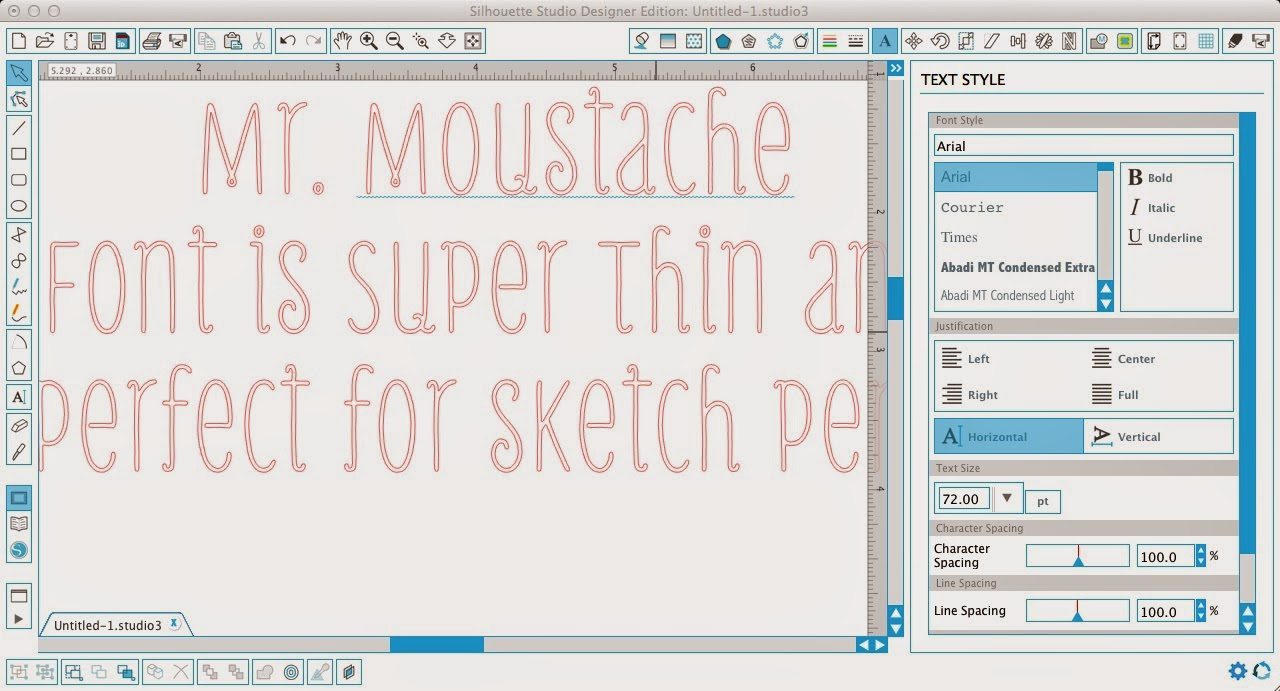 Silhouette sketch pens, thin fonts, Silhouette Studio, Mr. Moustache font