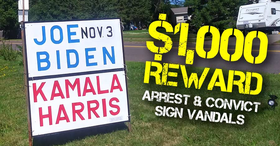 $1,000 Reward for arrest of Barron County sign vandals