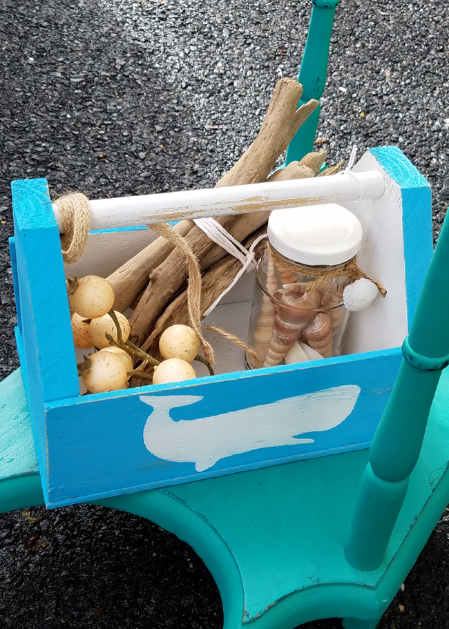blue and white whale wooden crate for summer