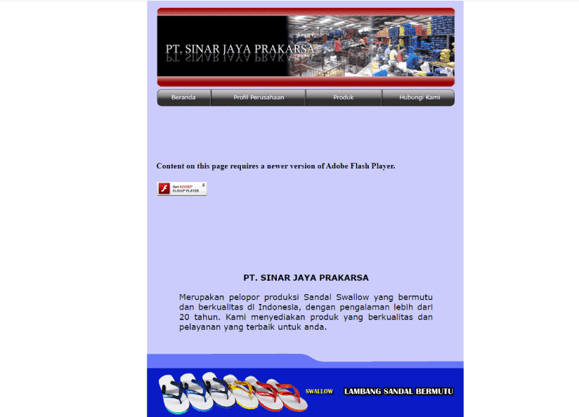 Contoh desain website company profile PT. Sinar Jaya Prakarsa