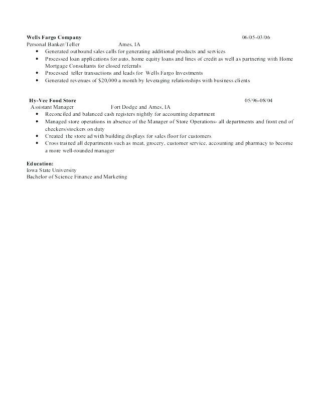 personal banker resumes