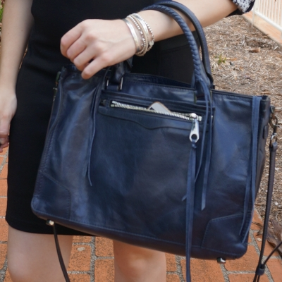 Rebecca Minkoff Regan moon navy satchel tote bag for the office | away from the blue