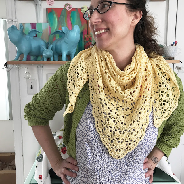 South Bay Shawlette, crochet, shawls, art studio, flying pigs, Anne Butera, My Giant Strawberry
