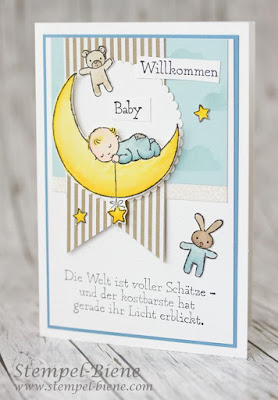 Stampinup; Moon Baby; Aquarellkarte zur Geburt; Babykarte Jungs; Glückwünschkarte zur Geburt; Baby im Mond, Match the Sketch; Stempel-biene