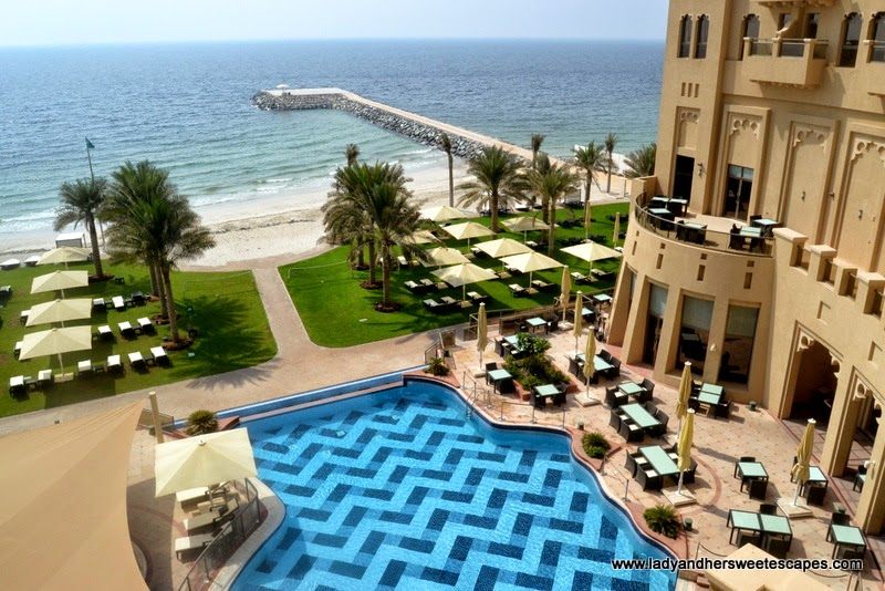 The Ajman Palace private beach and infinity pool