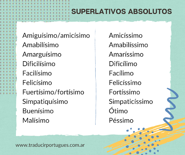 Superlativos absolutos en portugués