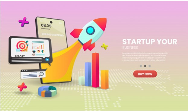 Startup concept on mobile application. online store smartphone concept suitable for banner application. Premium Vector