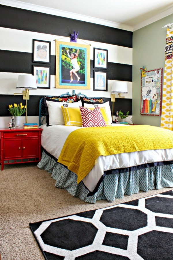 black and white striped wall, Crane and Canopy Linden Duvet, glossy red bamboo nightstands, vintage peacock headboard