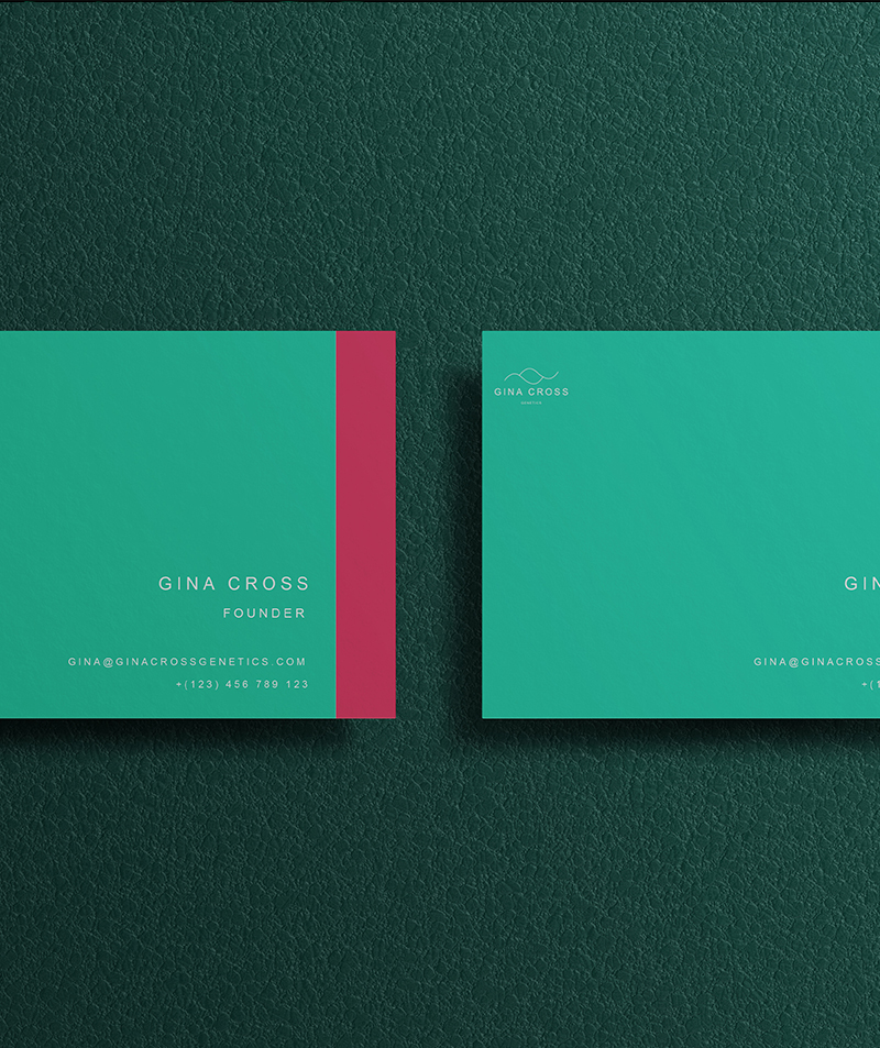 gina cross logo in business cards