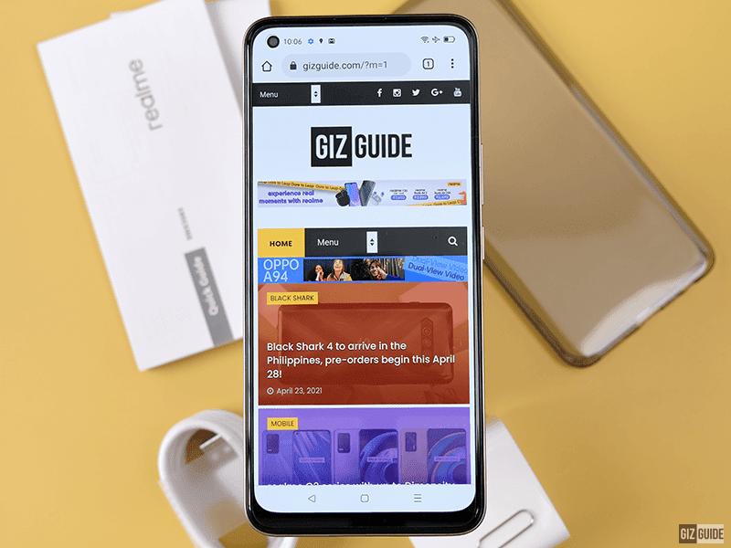 realme 8's web browsing experience