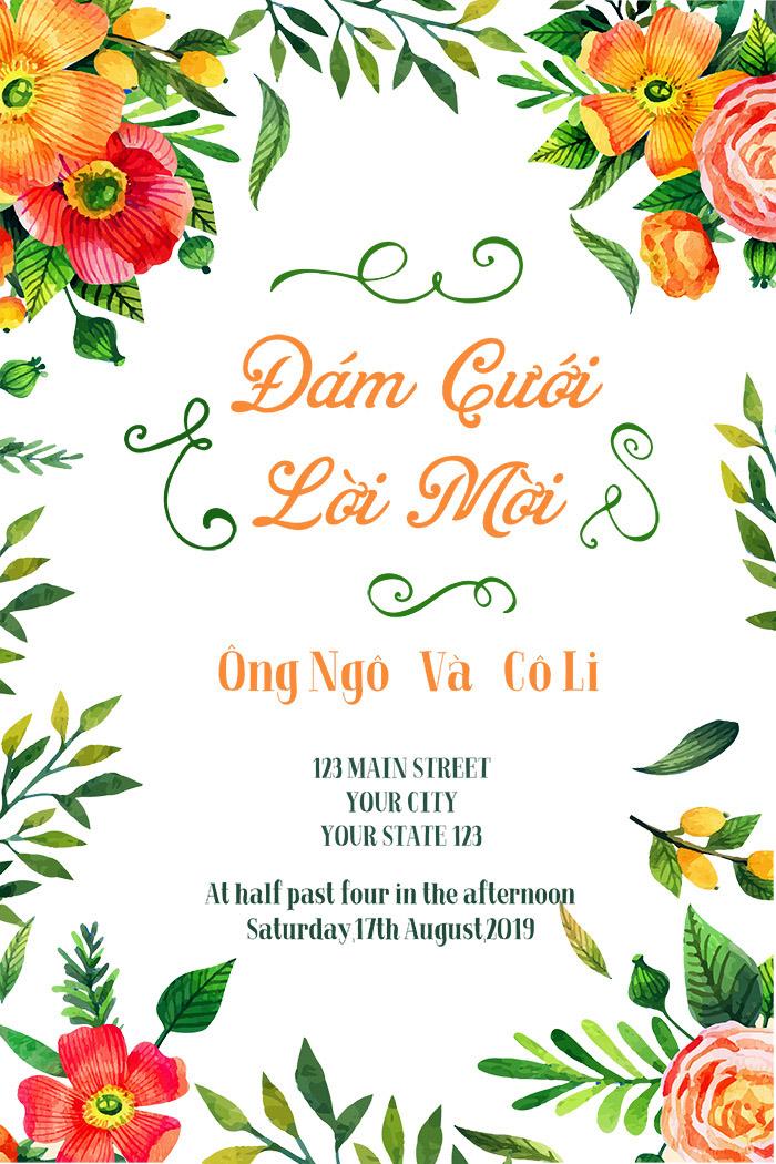 Vietnamese Wedding Invitation Flower Line Simple Natural Invitation