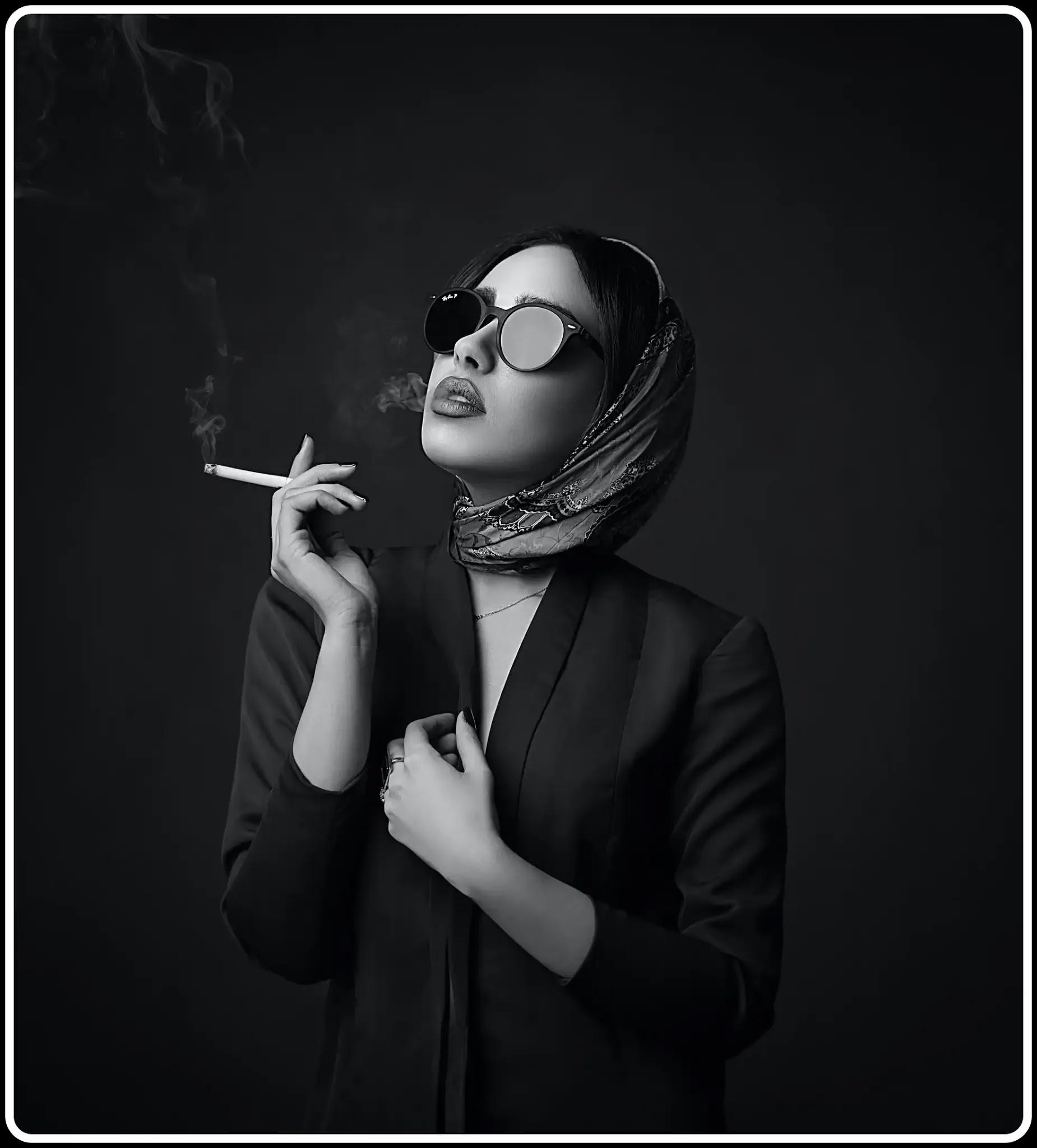 Bad habit smoking - girl smoking free image - black theme for girls
