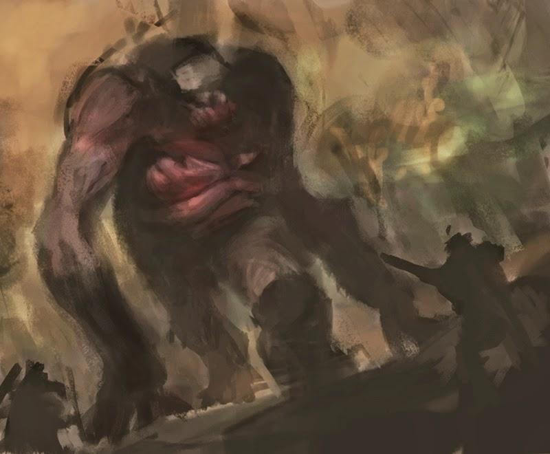 big foot, douglas deri, conceptart, characterdesign, roleplay, rpg, illustration, ilustracao, monster,monstro, prehistoric bigfoot