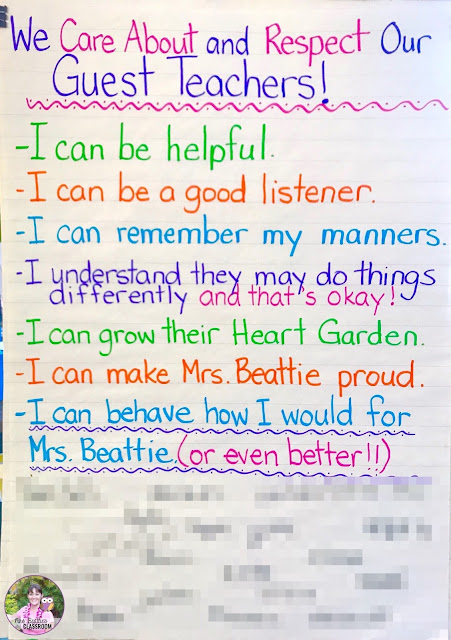 Do you dread being away from your classroom? Do your students fall apart when there is a guest or substitute teacher in the room? Make your sub rules & expectations explicitly clear with an anchor chart like the one in this post!