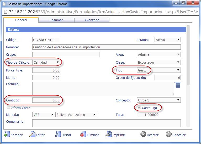 """Gasto de Importación """"Cantidad de Contenedores de la Importación""""- eFactory ERP/CRM"""