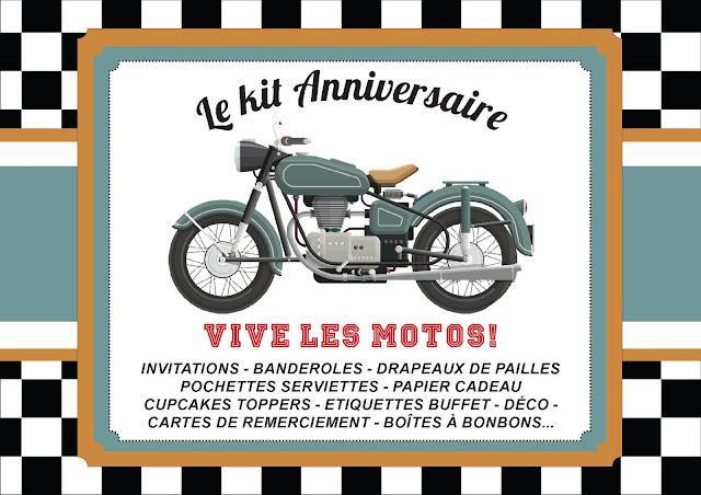Kit anniversaire personnalisé thème moto garçon à imprimer tête de coucou organisation fête invitation banderole