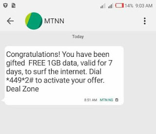 Mtn free 1GB Data