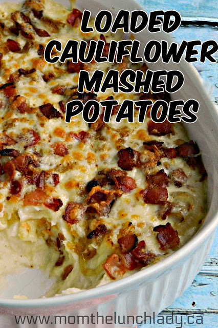 mashed potatoes and cauliflower, topped with caramelised onion, cheese and bacon, in a white casserole dish