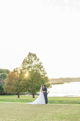 bride and groom at lake mary events center